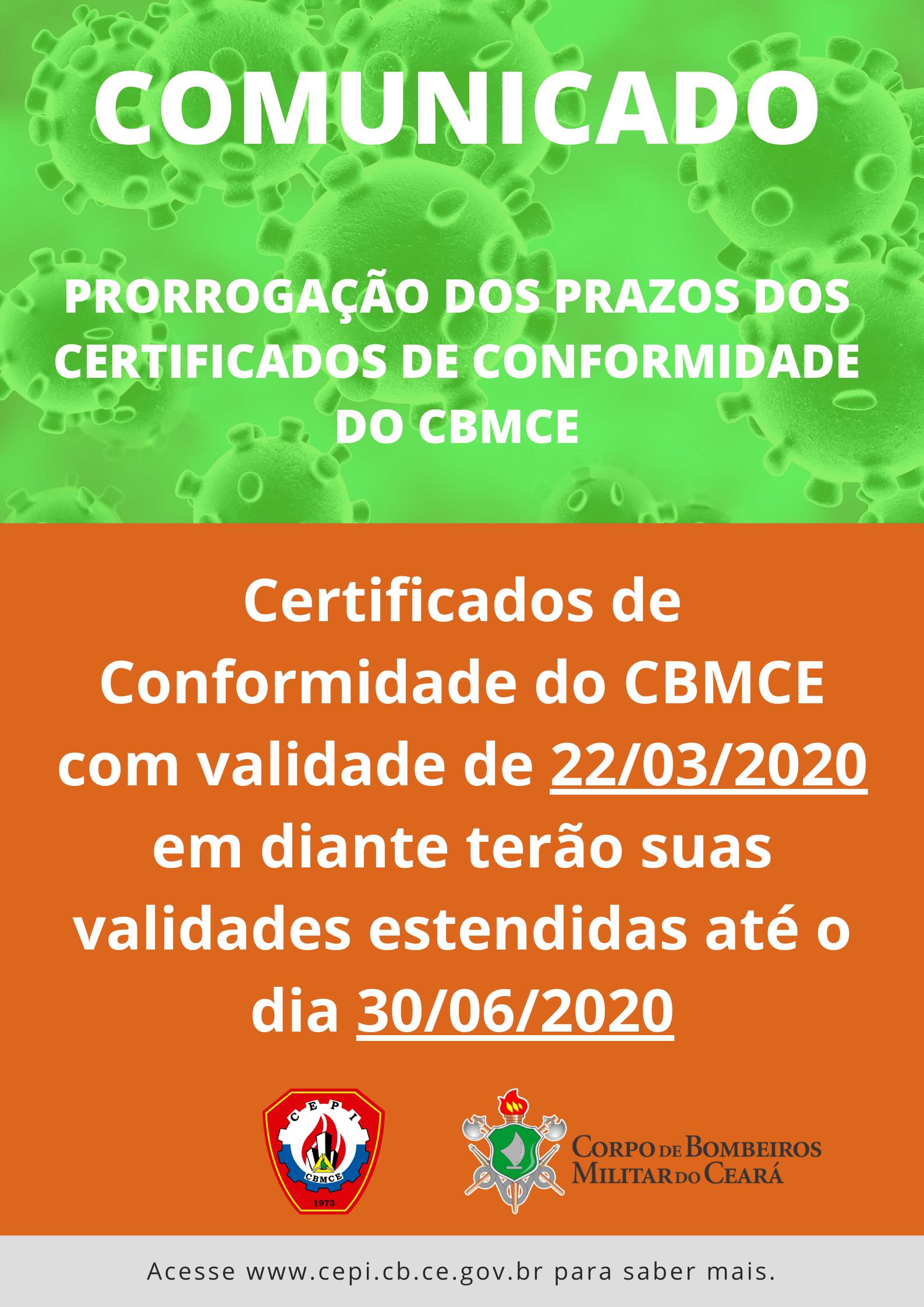 [COVID-19] CBMCE prorroga a validade do Certificado de Conformidade